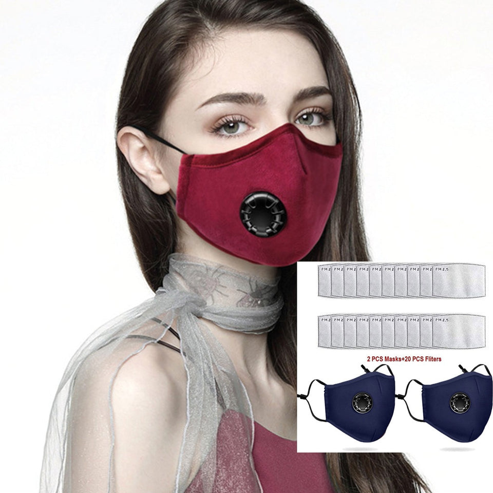 Face Mask With Activated Filters (2 Mask With 20 PM2.5 Filter)