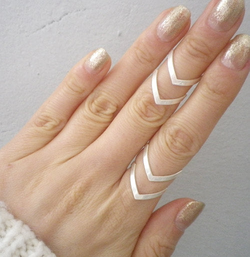 New Fashion Boho Double Lines V Chevron Rings For Women's