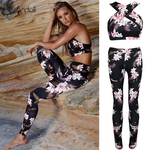 2 Piece Yoga Set Floral Print Bra+Long Pants for Women