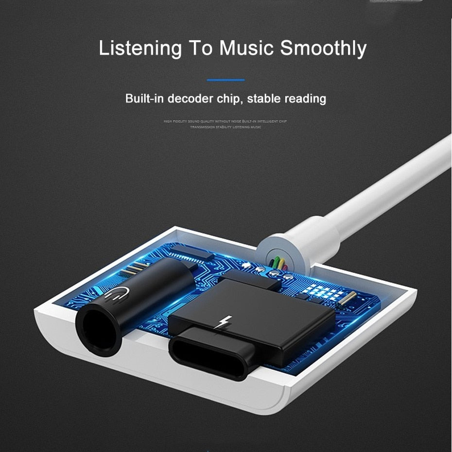 Two in One Earphone Adapter For iPhone