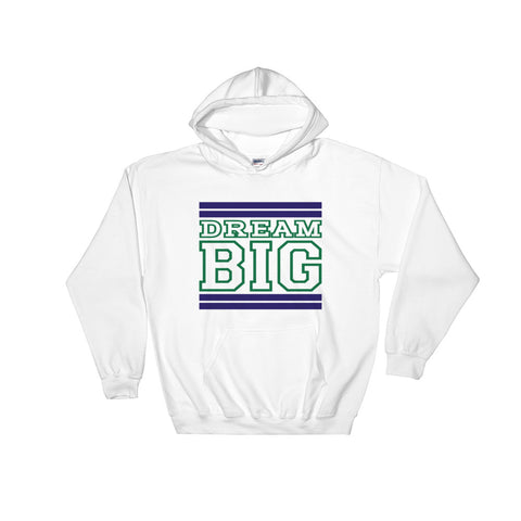 White Navy Blue and Green Hooded Sweatshirt