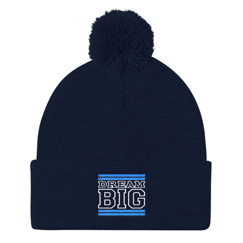 Navy Blue Carolina Blue and White Pom Pom Beanie