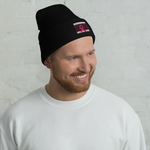 Black White and Pink Breast Cancer Awareness Cuffed Beanie