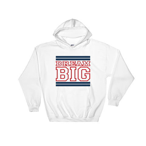 White Navy Blue and Red Hooded Sweatshirt