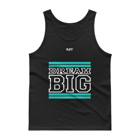 Teal and White Dream Big Tank tops