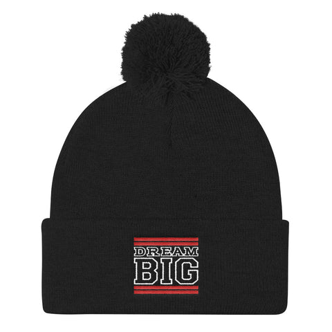 Black Red and White Pom Pom Beanie
