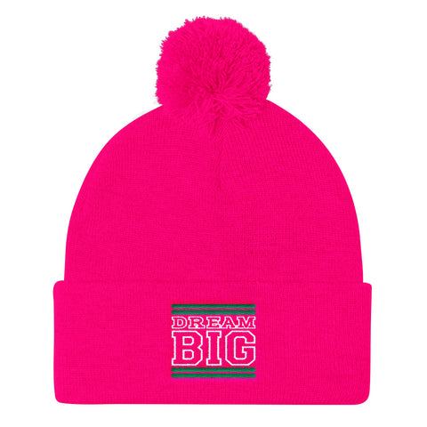 Pink Green and White Pom Pom Beanie
