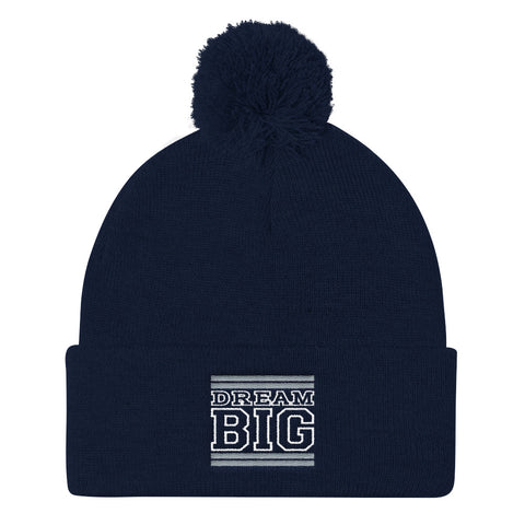 Navy Blue Grey and White Pom Pom Beanie