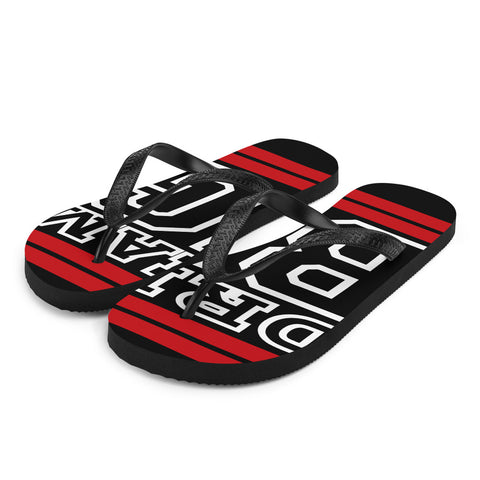 Red and White Dream Big Flip-Flops