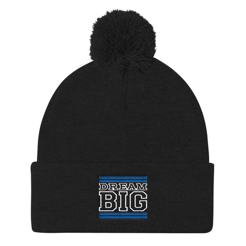 Black Royal Blue and White Pom Pom Beanie