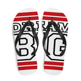 Red and Black Dream Big Flip-Flops