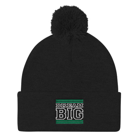 Black Green and White Pom Pom Beanie