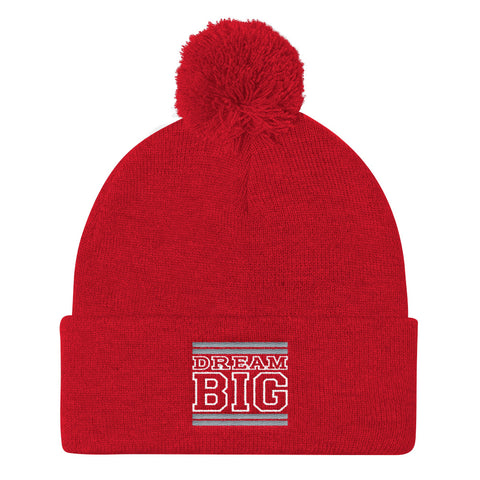 Red Grey and White Pom Pom Beanie