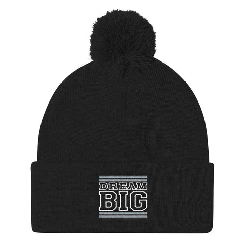 Black Grey and White Pom Pom Beanie