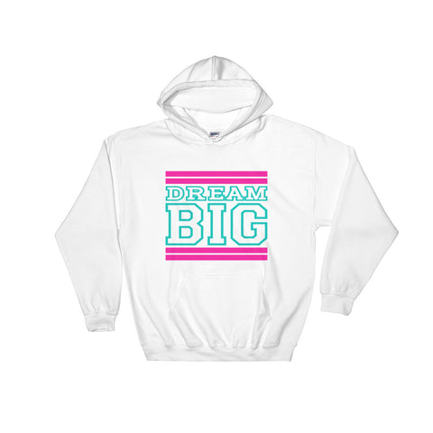 White Pink and Turquoise Hooded Sweatshirt