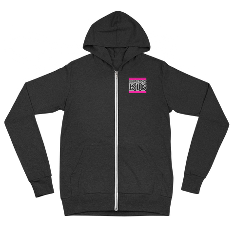 Pink and White Dream Big Lifestyle Unisex zip hoodie