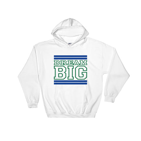 White Royal Blue and Green Hooded Sweatshirt