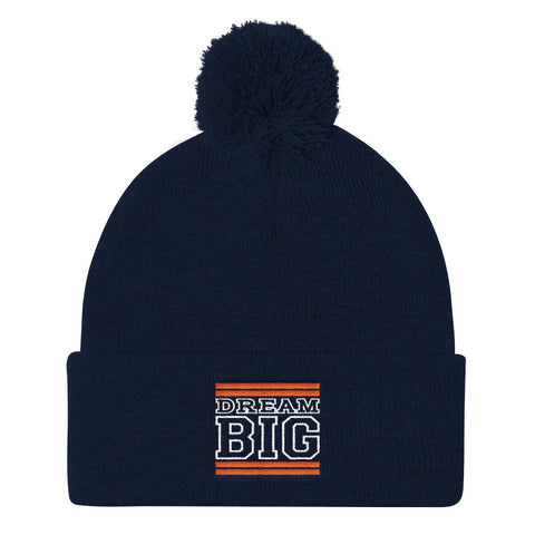 Navy Blue Orange and White Pom Pom Beanie