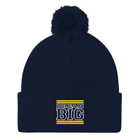 Navy Blue Yellow and White Pom Pom Beanie