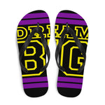 Purple and Yellow Dream Big Flip-Flops