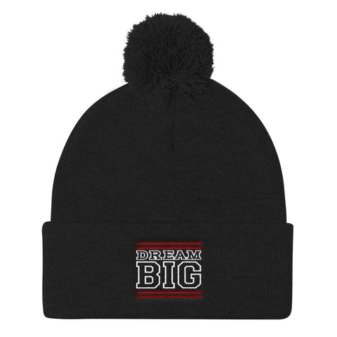 Black Maroon and White Pom Pom Beanie