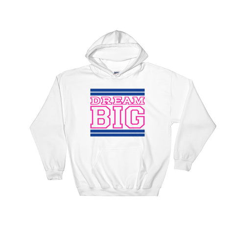 White Royal Blue and Pink Hooded Sweatshirt