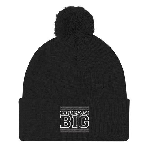 Black Black and White Pom Pom Beanie