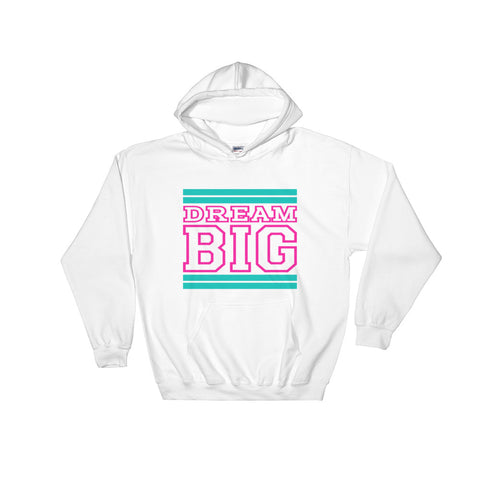 White Turquoise and Pink Hooded Sweatshirt