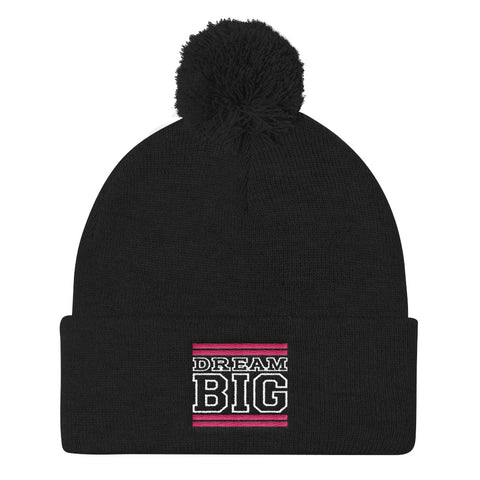 Black Pink and White Pom Pom Beanie