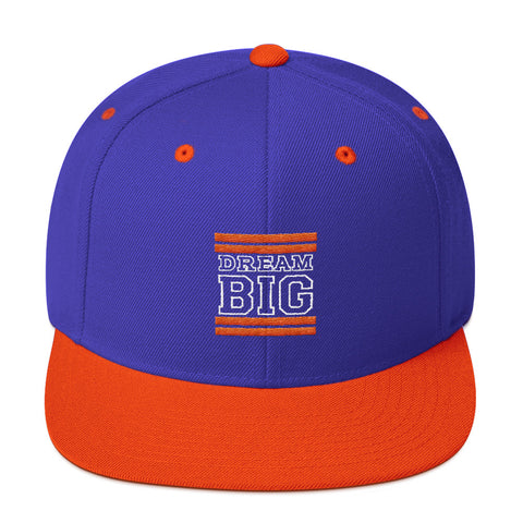 Royal Blue and Orange Dream Big Snapback Hat