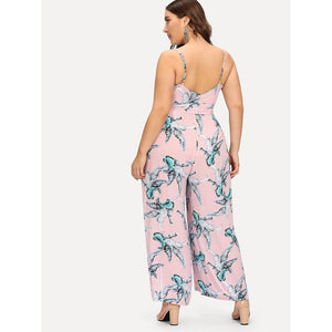 Palm Leaf Print Wrap Cami Jumpsuit