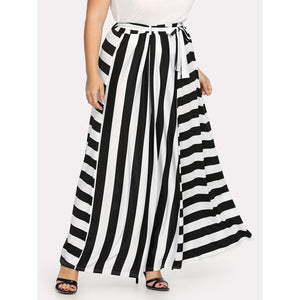 Contrast Striped Belted Skirt
