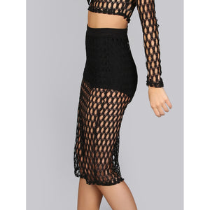 Netted Midi Skirt BLACK