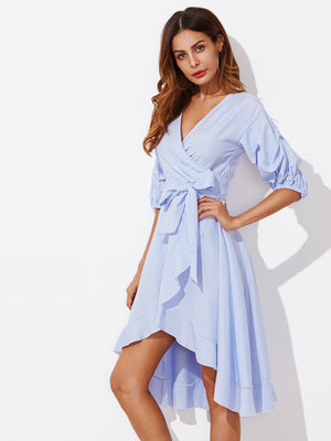 Gathered Sleeve Surplice Wrap Pinstripe Dress