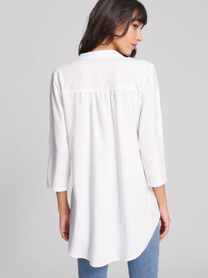 Rolled Sleeve Curved Hem Blouse