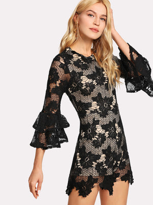 Ruffle Sleeve Floral Lace Romper