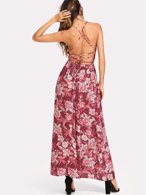 Strappy Back Split Floral Dress