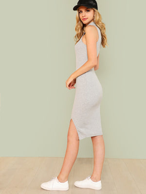 Split Front Rib Knit Fitted Dress