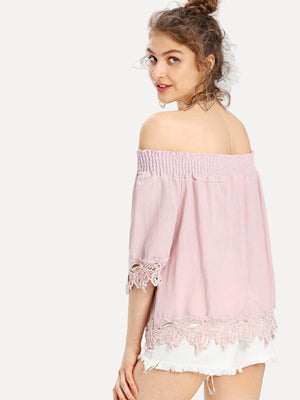 Shirred Cold Shoulder Lace Hem Top