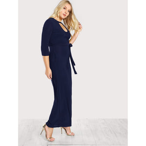 Double Keyhole Self Belted Palazzo Jumpsuit