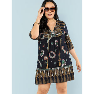 Tassel Tied Dress Plus Size