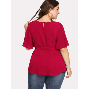Split Sleeve Belted Detail Top