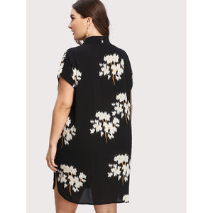 Botanical Button Up Shirt Dress Plus Size