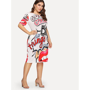 Grahic Print Dress Plus Size