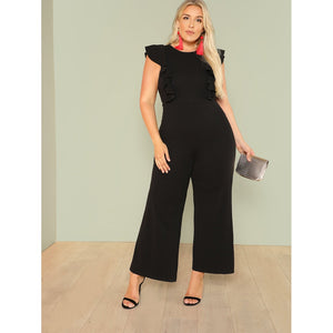 Ruffle Trim Wide Leg Tailored Jumpsuit