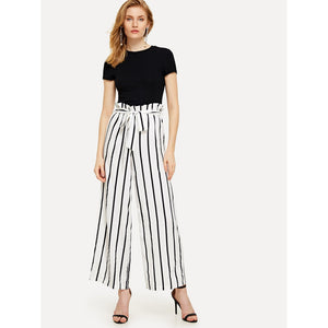 Frilled Waist Wide Leg Striped Pants
