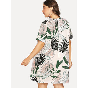 V Neck Palm Print Dress Plus Size