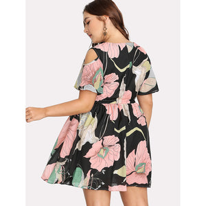 Peek a Boo Shoulders Floral Dress Plus Size