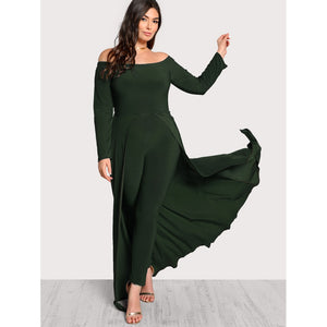 Off Shoulder Solid Maxi Jumpsuit