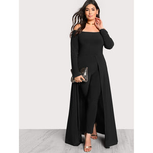 Solid Tailored Bardot Jumpsuit With Skirt Overlay
